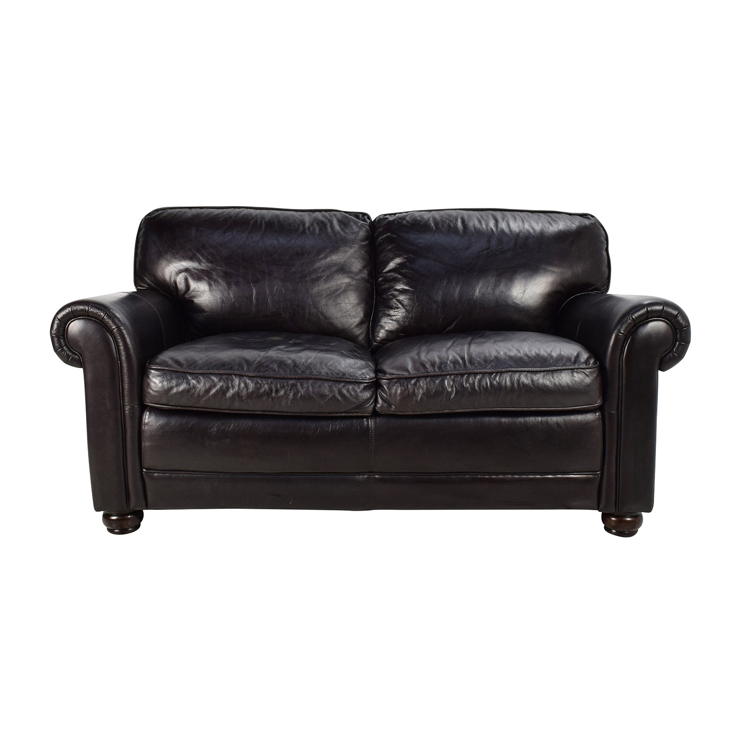 Bobs Furniture Leather Dark Brown Sofa sale