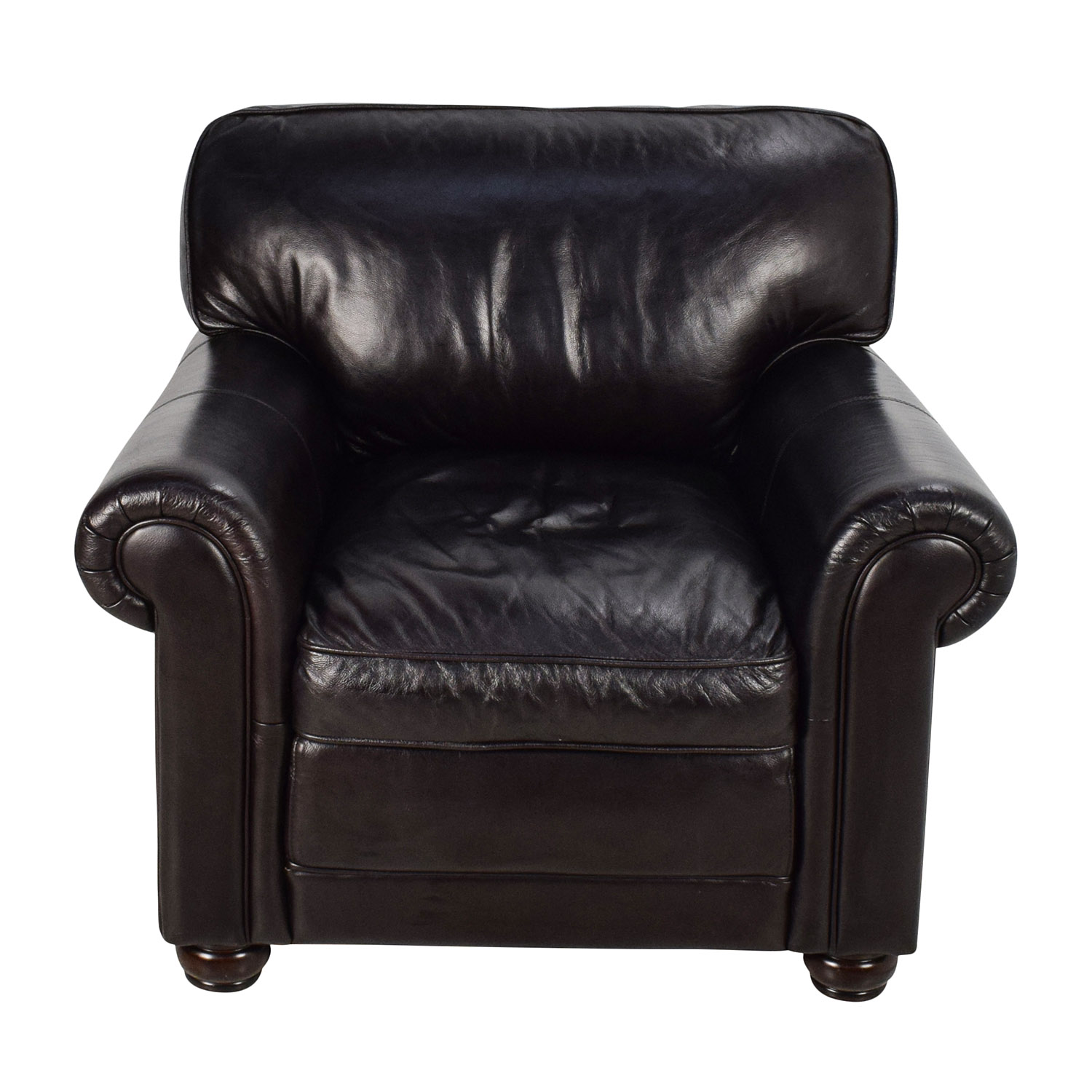Bobs Furniture Bobs Furniture Leather Dark Brown Chair for sale