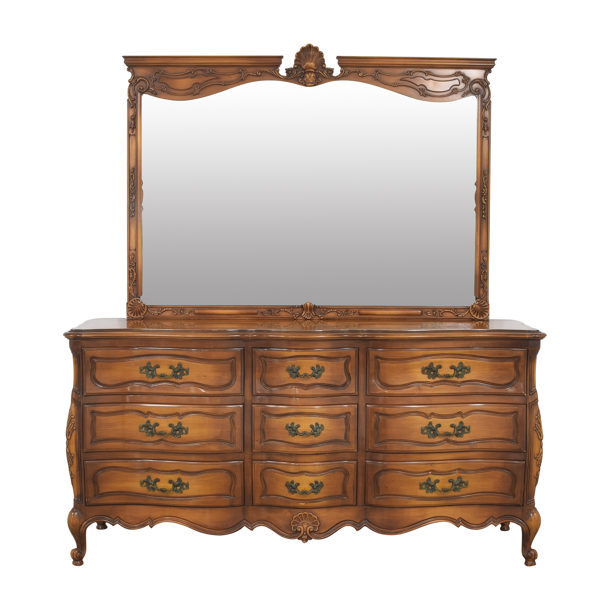 shop Carved Triple Dresser with Mirror  Storage