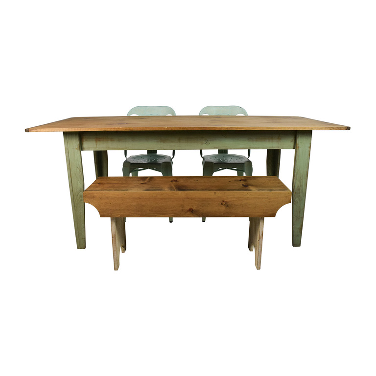 Wayfair and Urban Outfitters Urban Outfitters Rustic Farm Table with Bench and Chairs discount
