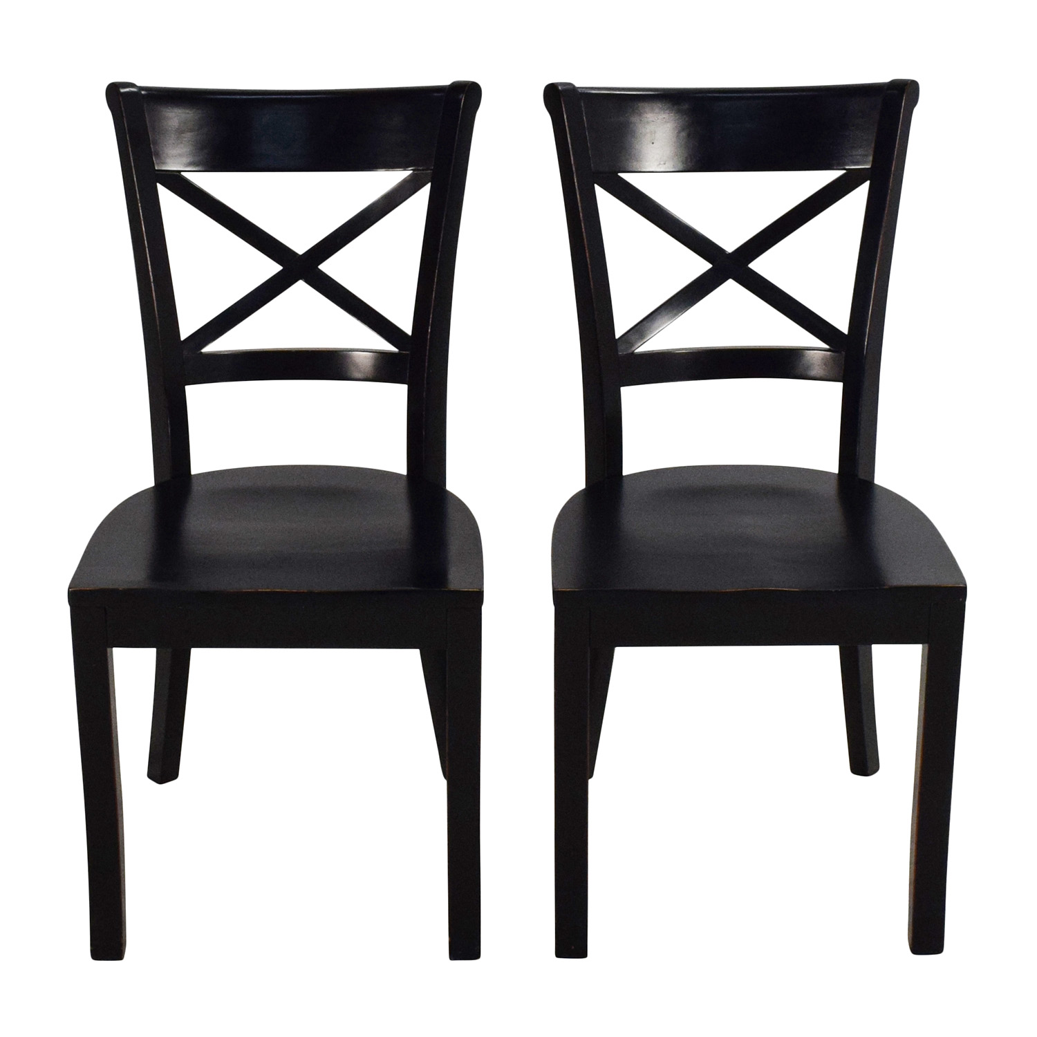 Crate & Barrel Vintner Wooden Chair Pair / Dining Chairs