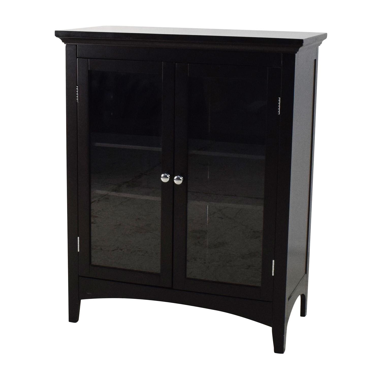Off dark brown glass door cabinet storage