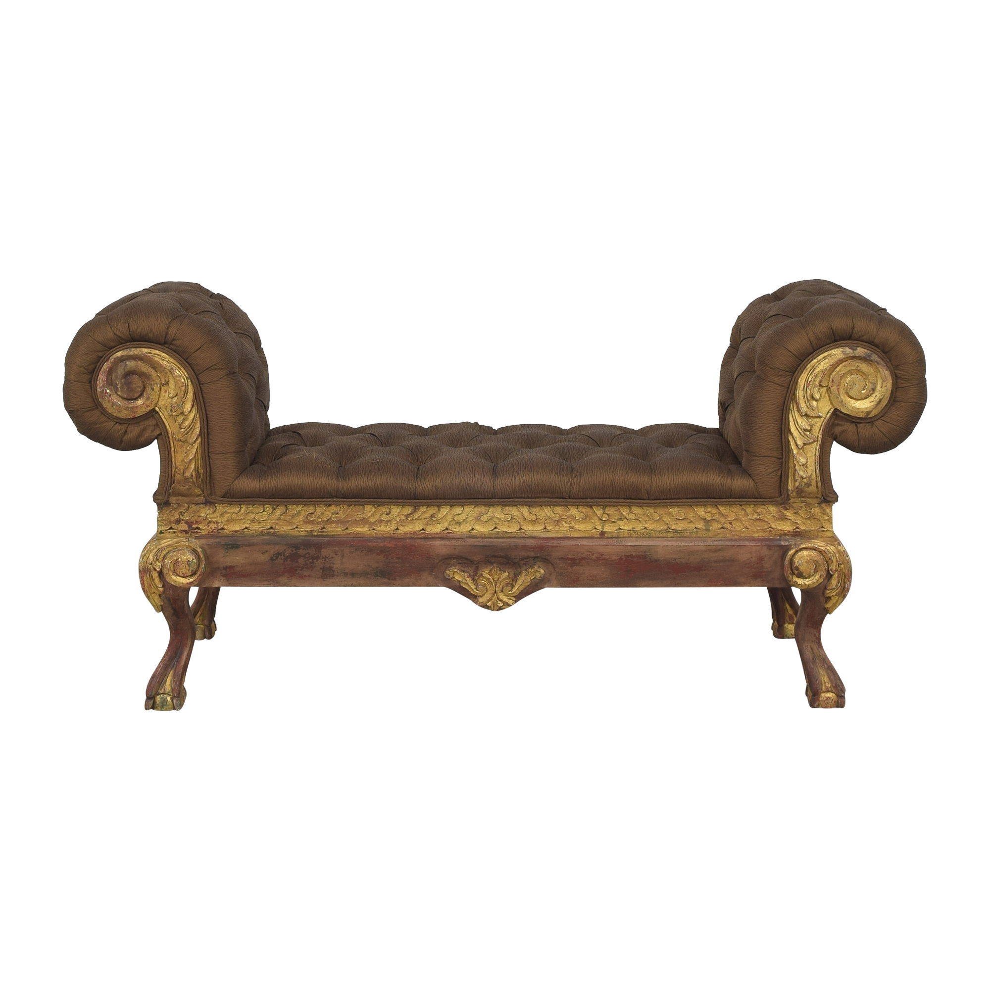 Tufted Roll Arm Bench nj