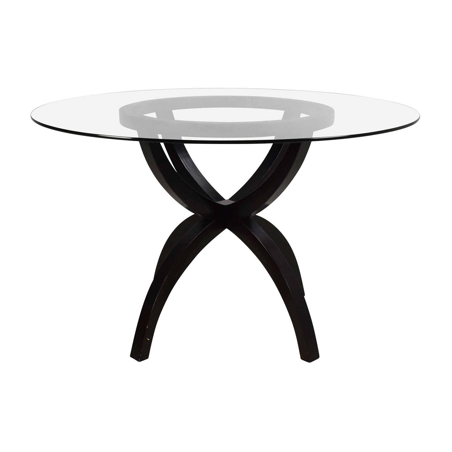 Circular Glass and Wood Dining Table discount