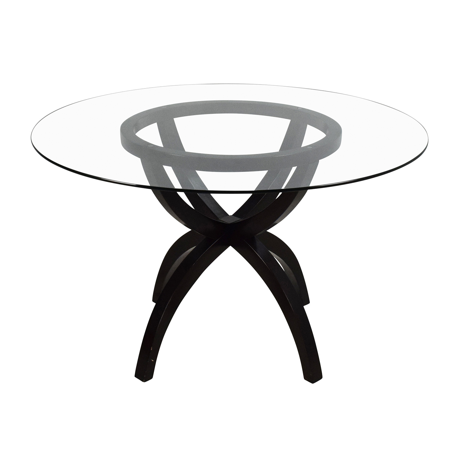 Circular Glass and Wood Dining Table / Dinner Tables