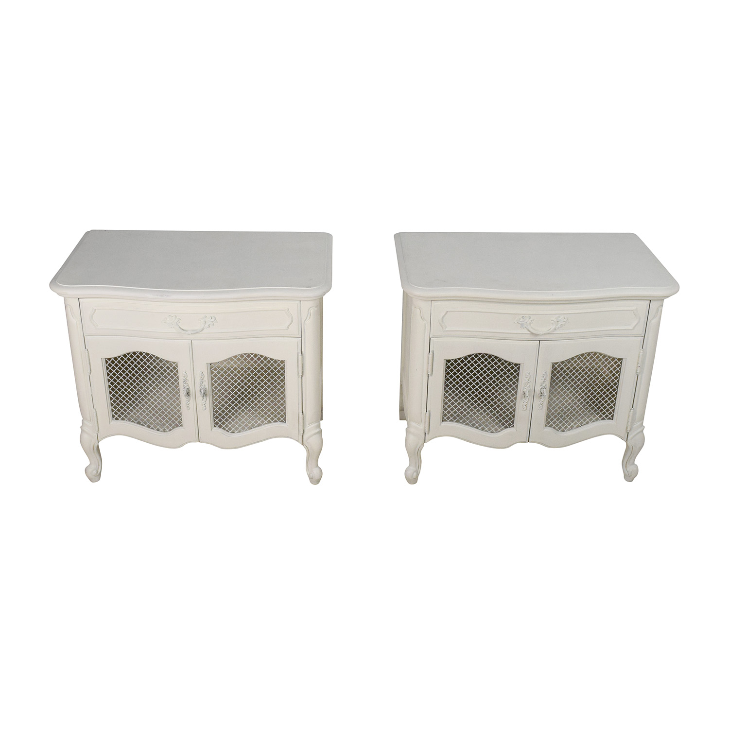 Antique Style White End Tables second hand