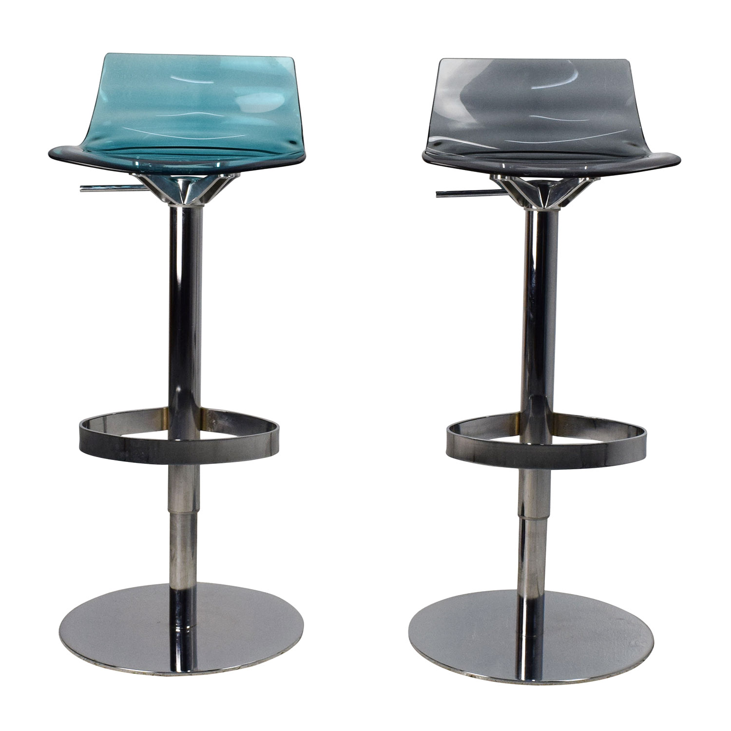 87% OFF - Calligaris Calligaris L\'Eau Adjustable Swivel Bar Stool Pair /  Chairs