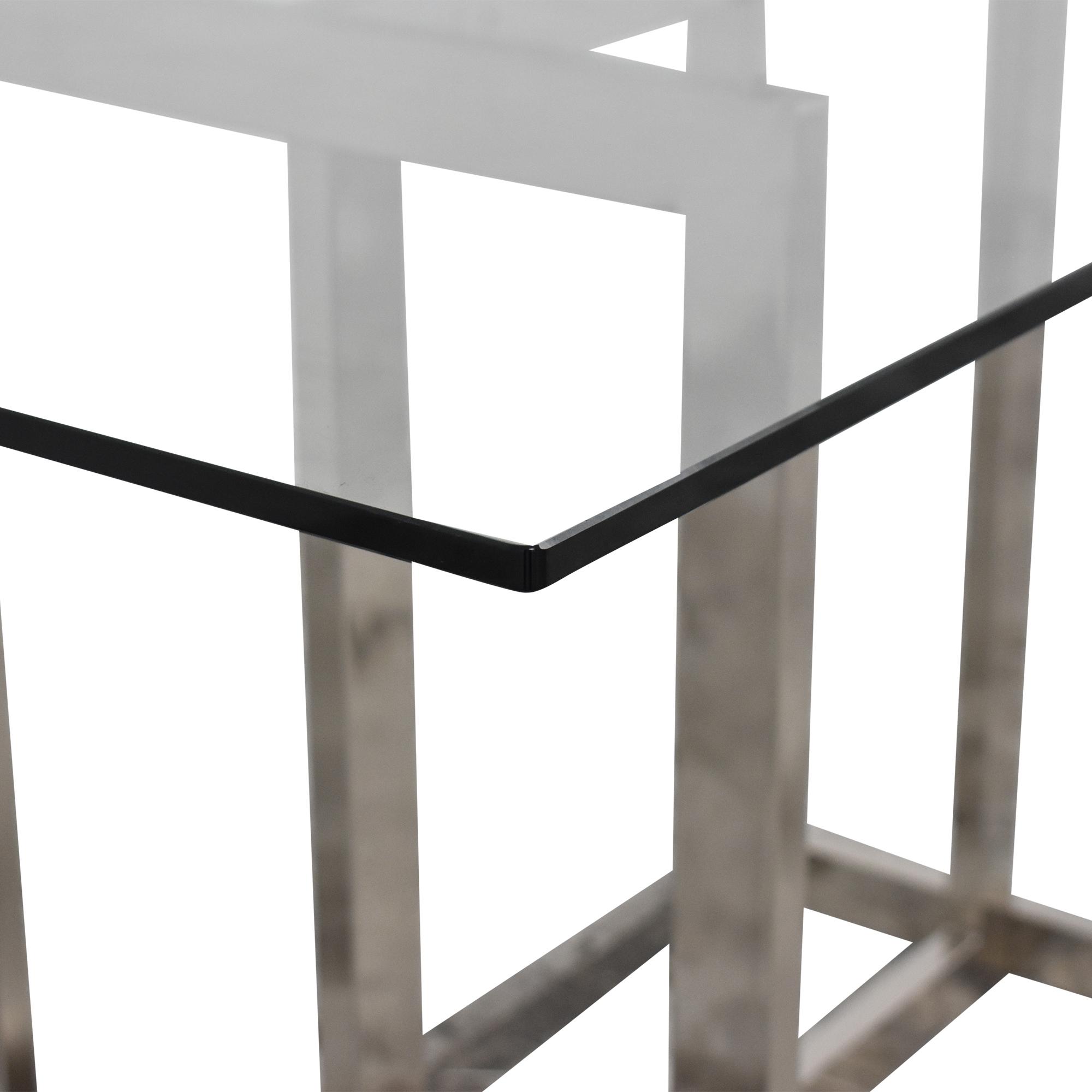 West Elm West Elm Rectangular Glass and Chrome Dining Table nj