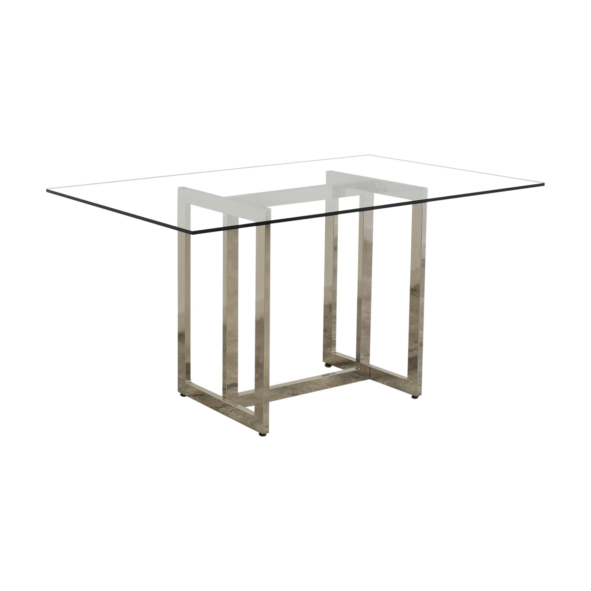 West Elm Rectangular Glass and Chrome Dining Table / Tables