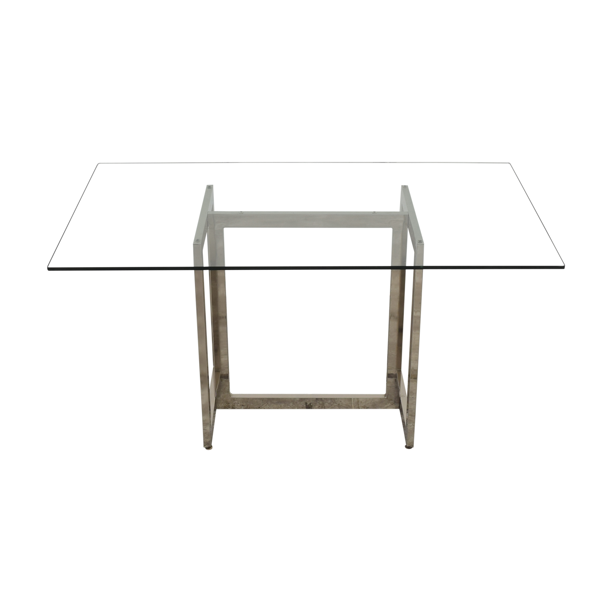 West Elm West Elm Rectangular Glass and Chrome Dining Table silver