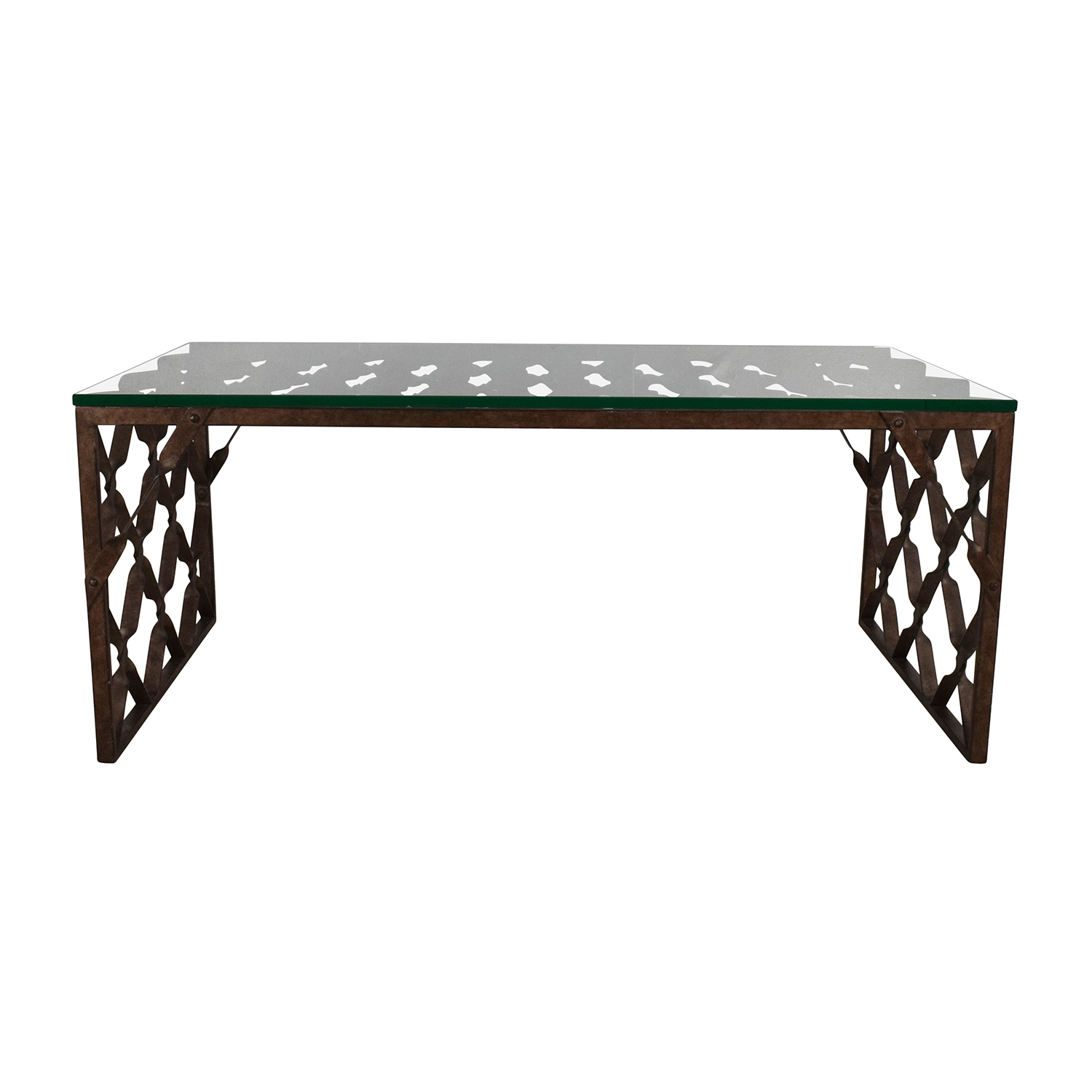 Buy Crate U0026 Barrel Glass Top Metalwork Coffee Table Crate And Barrel ...