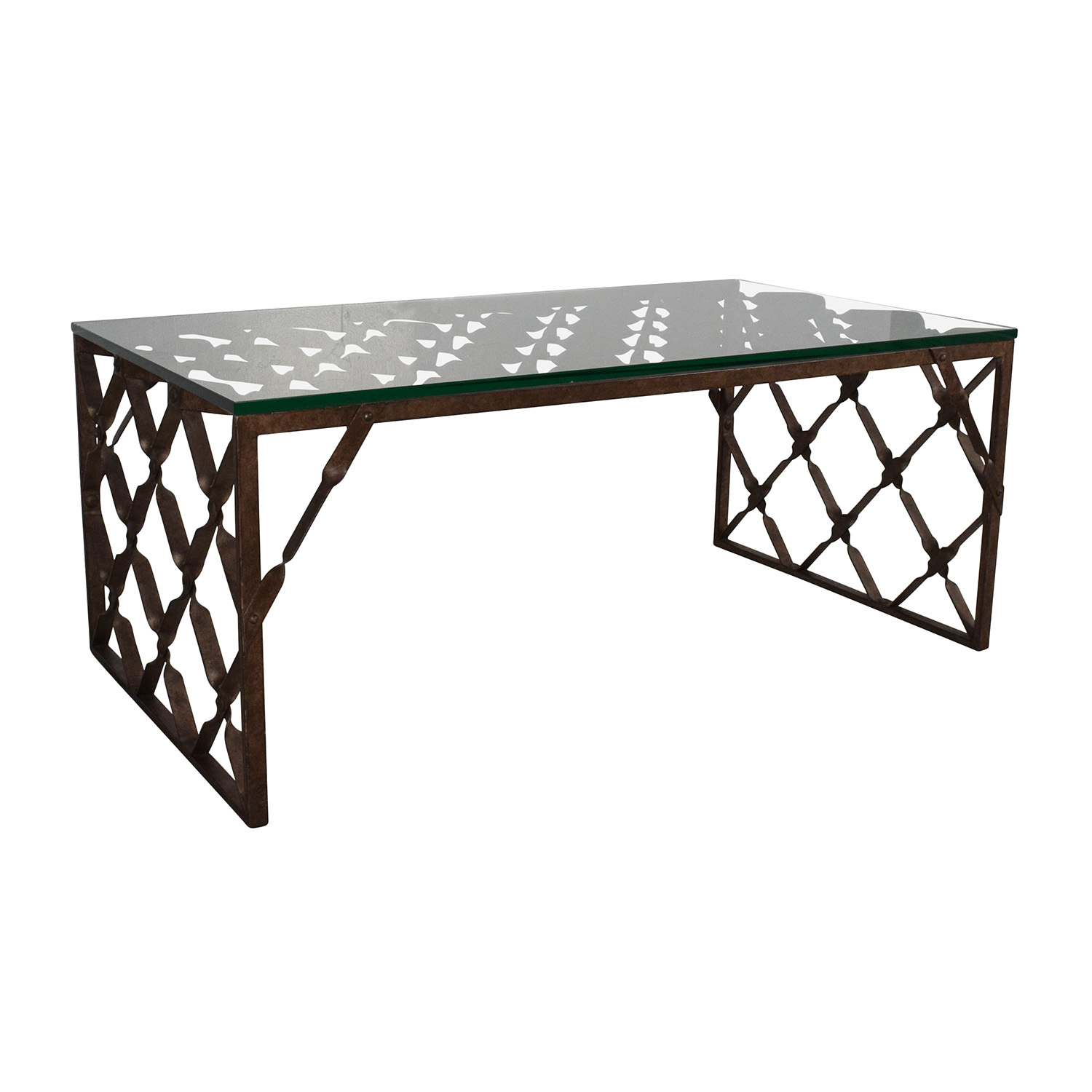 82 off crate and barrel crate barrel glass top metalwork coffee table tables Coffee tables glass top