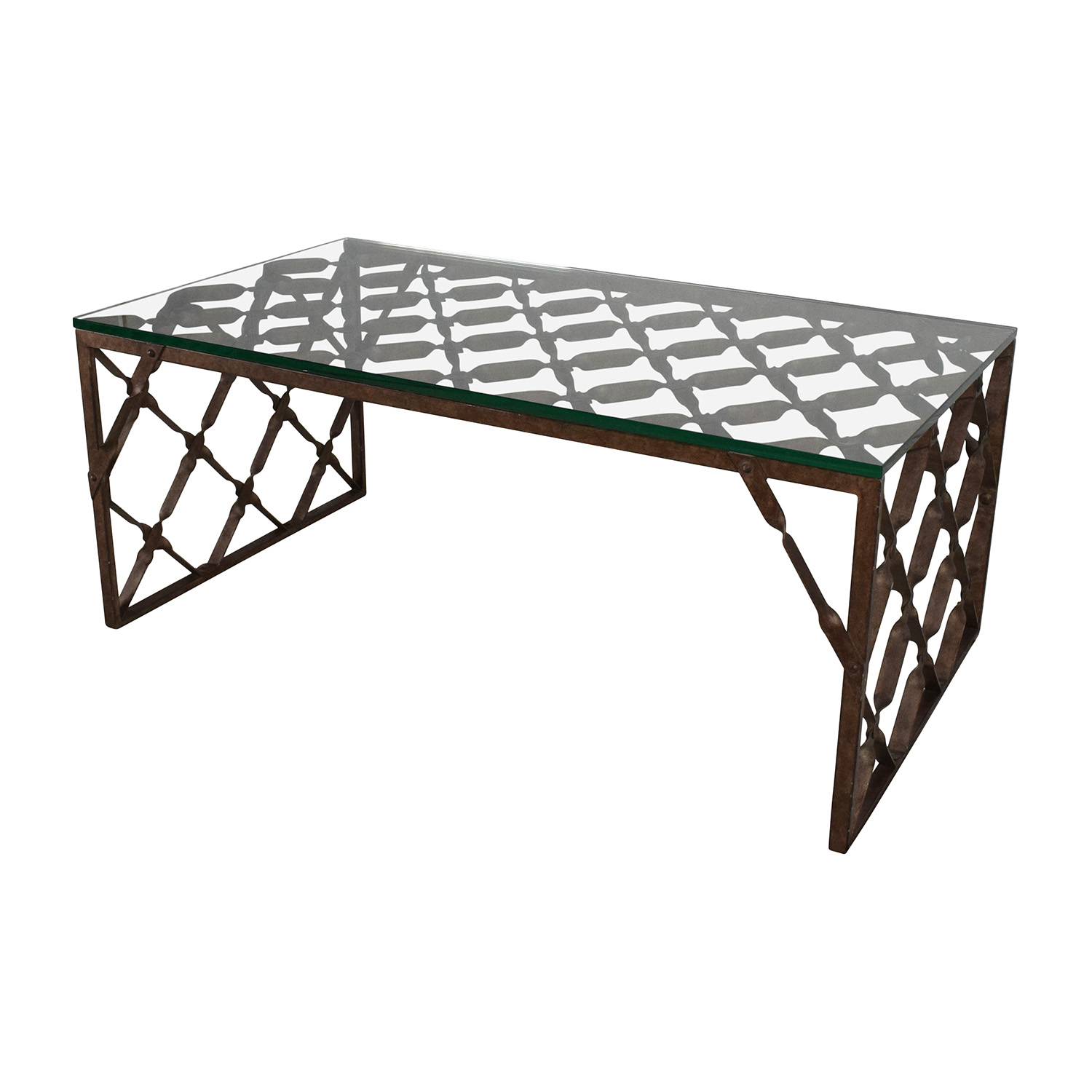 82 Off Crate And Barrel Crate Barrel Glass Top Metalwork Coffee Table Tables