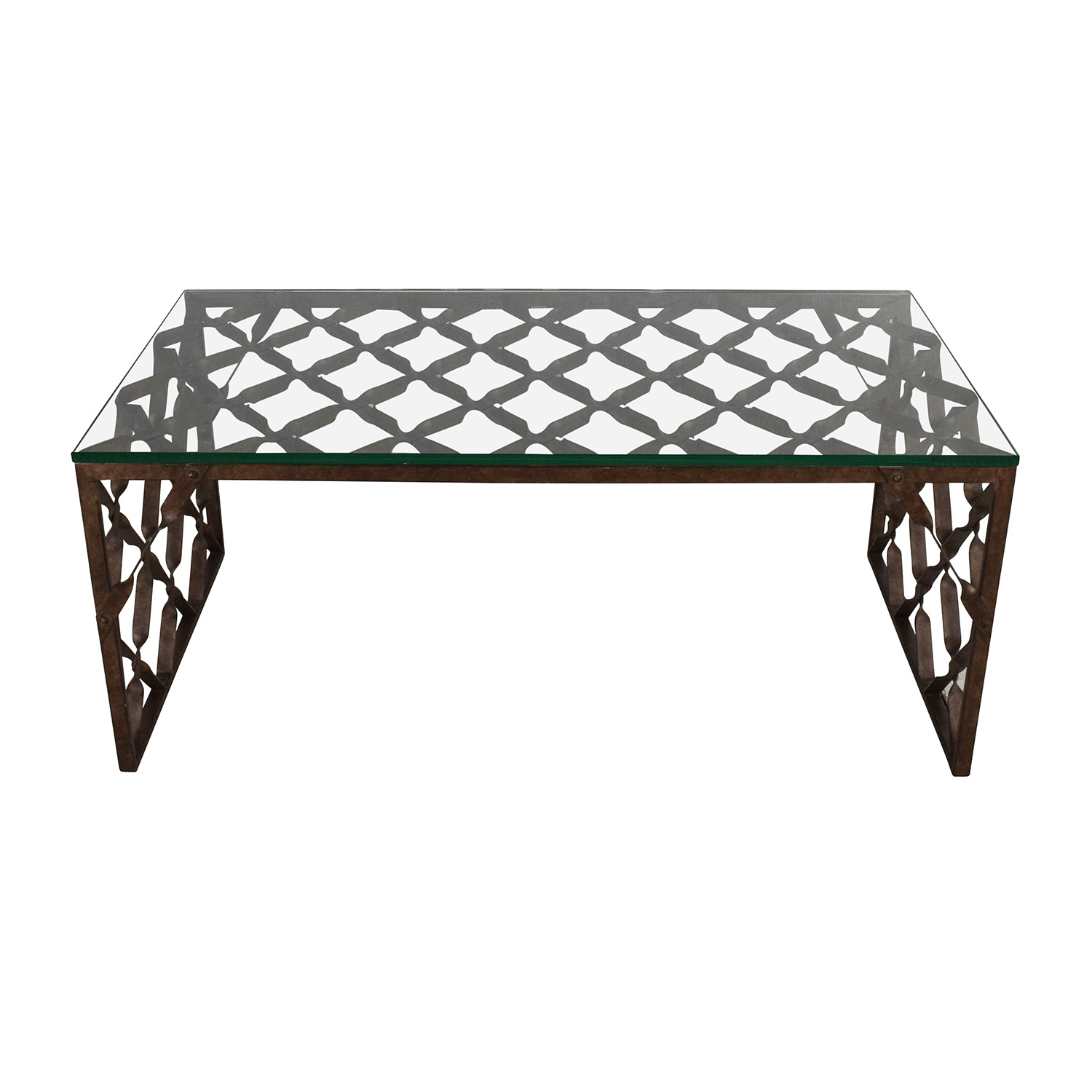 Crate and Barrel Crate & Barrel Glass Top Metalwork Coffee Table coupon