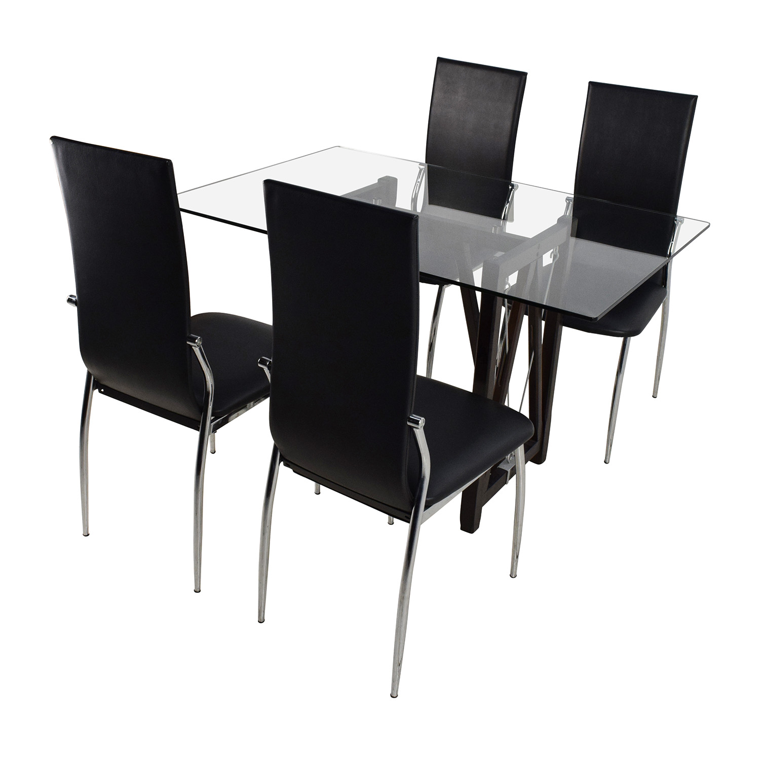61 Off Gl Top Dining Table And Leather Chairs Tables