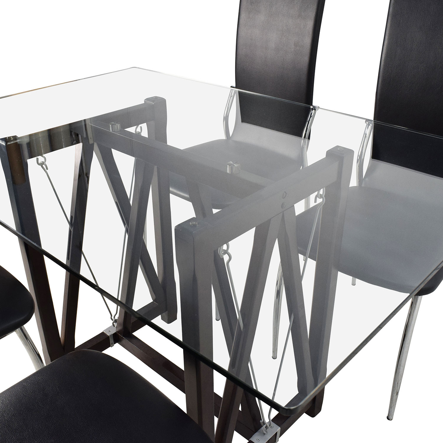 61 off glass top dining table and leather chairs tables for Dining table leather chairs