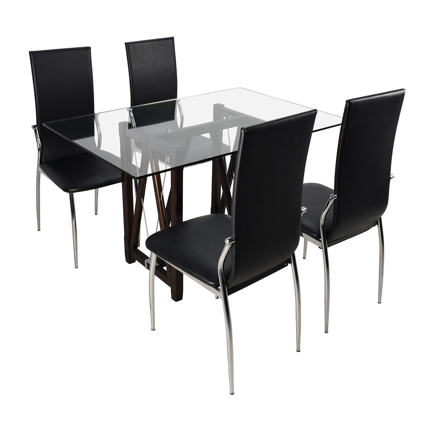 buy Glass Top Dining Table and Leather Chairs Tables
