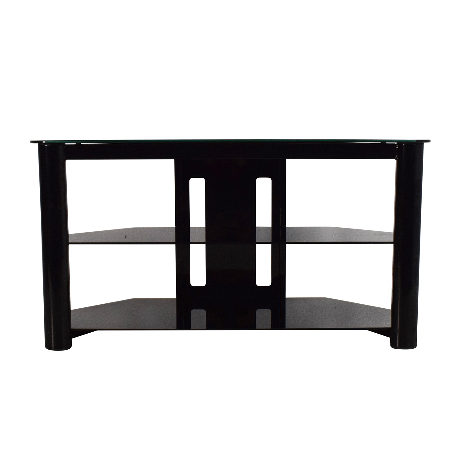 61% OFF - Best Buy Best Buy Black Glass TV Stand / Storage