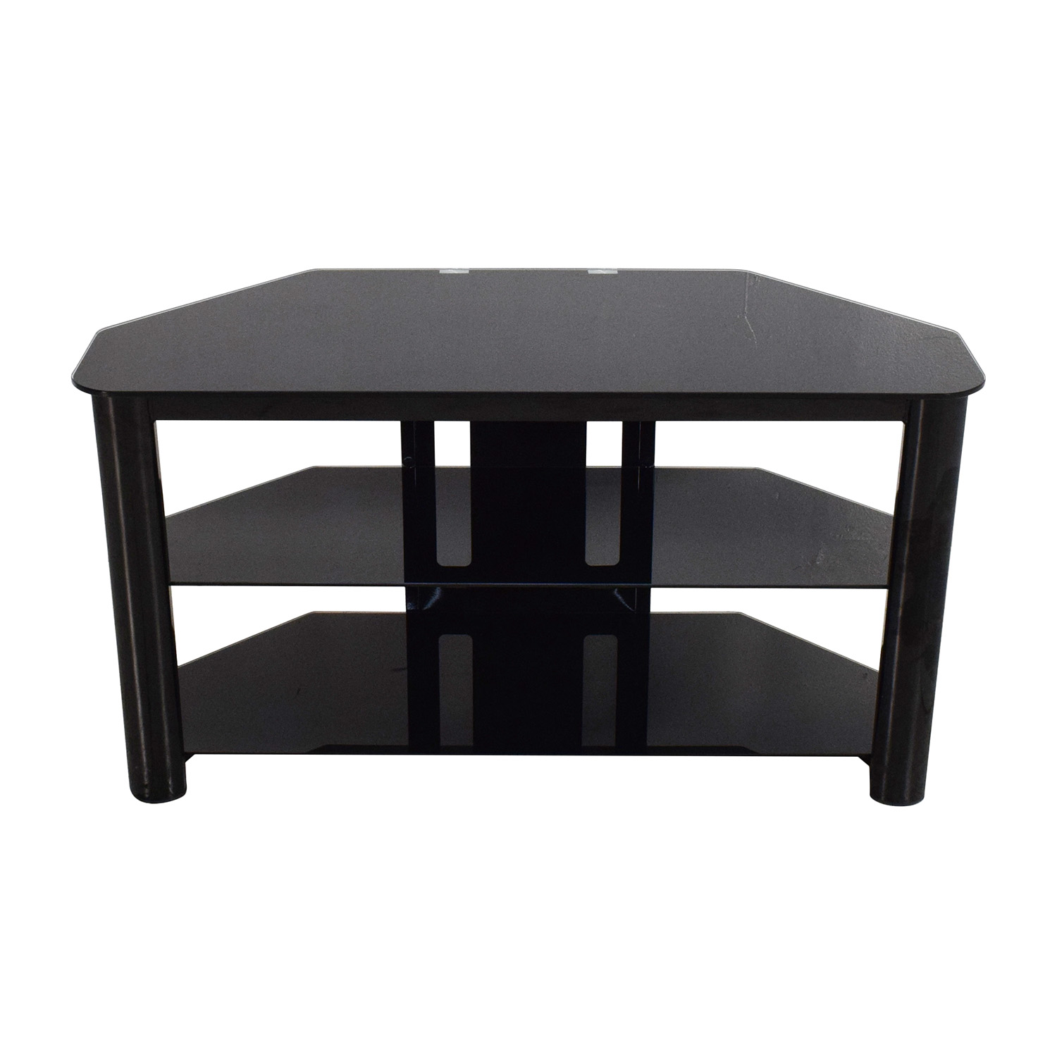 61 off best buy best buy black glass tv stand storage for Where to buy tv console