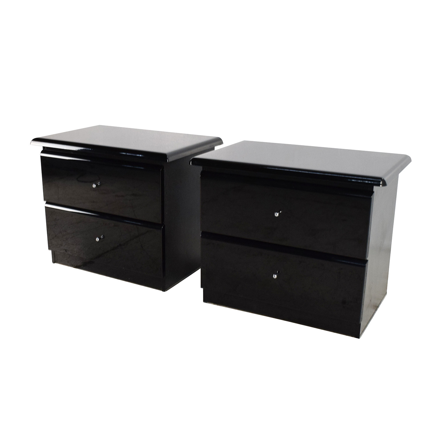 off  bloomingdales bloomingdale's black lacquer nightstand  -  bloomingdale's black lacquer nightstand pair  end tables