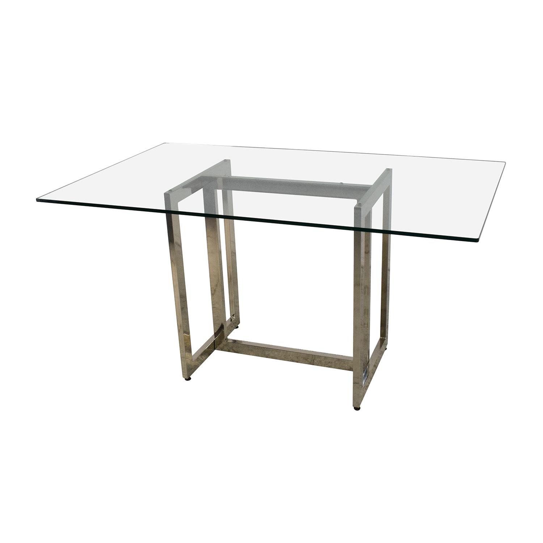 71 off west elm west elm hicks glass top dining table tables. Black Bedroom Furniture Sets. Home Design Ideas