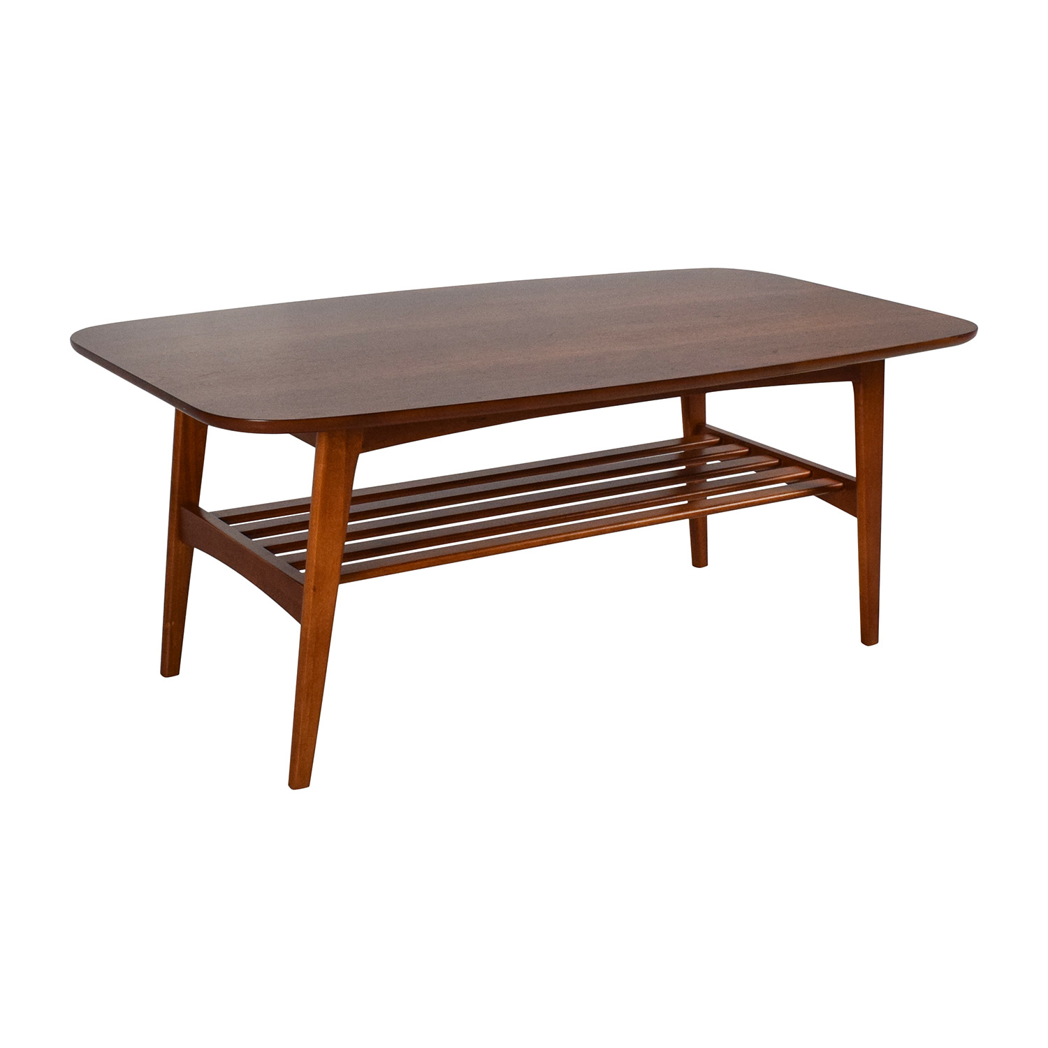 48 off brown wood coffee table with shelf tables Coffee table with shelf