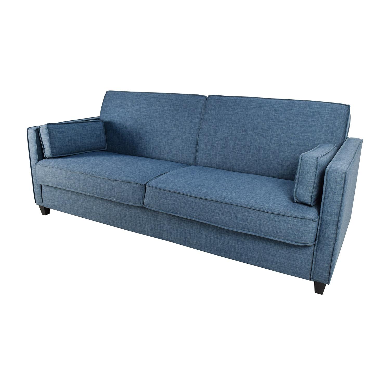 71% OFF Blue Full Size Convertible Storage Futon Sofas