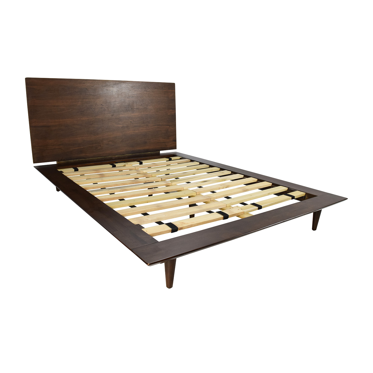full size brown wood bed frame