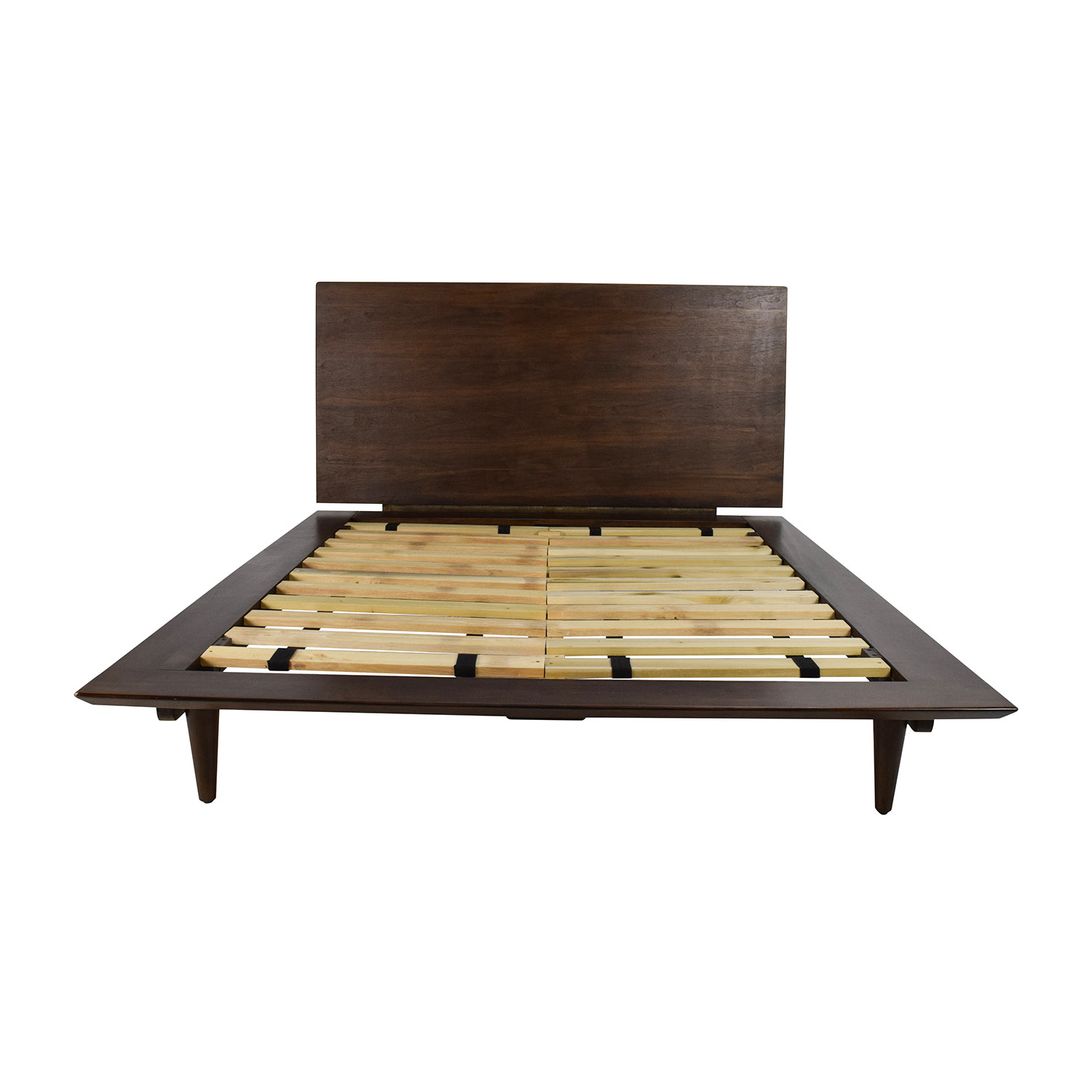 86 off full size brown wood bed frame beds for Full size bed frame
