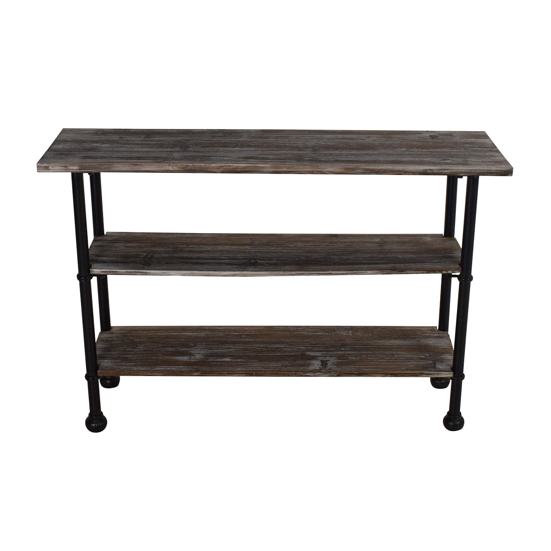 shop Unknown Rustic Brown Wood 3 Tier Shelf Table online