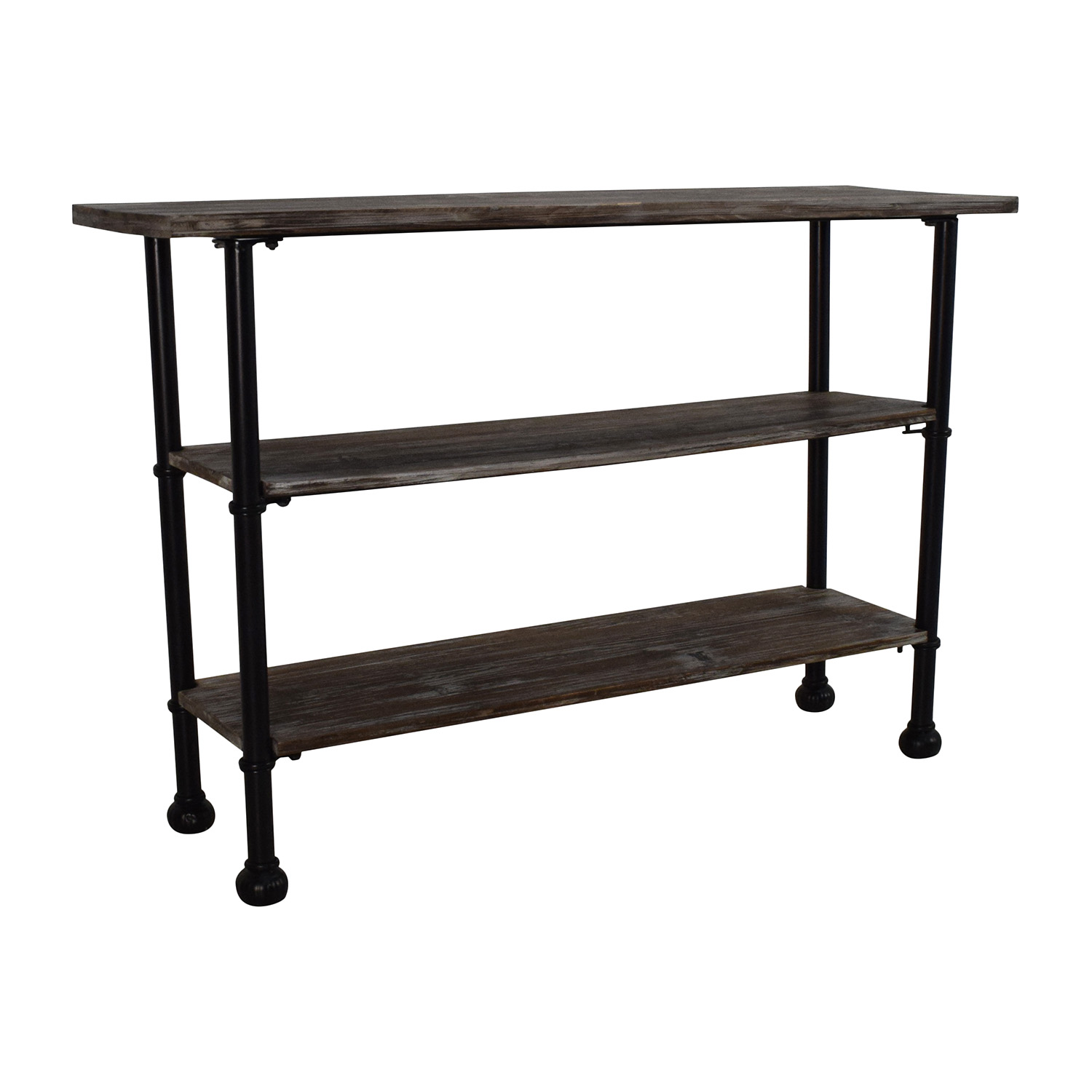 Unknown Rustic Brown Wood 3 Tier Shelf Table second hand