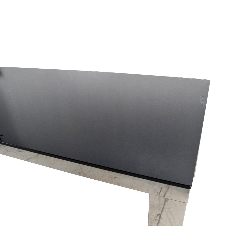 82 Off Modani Modani Tempered Black Glass Top Table