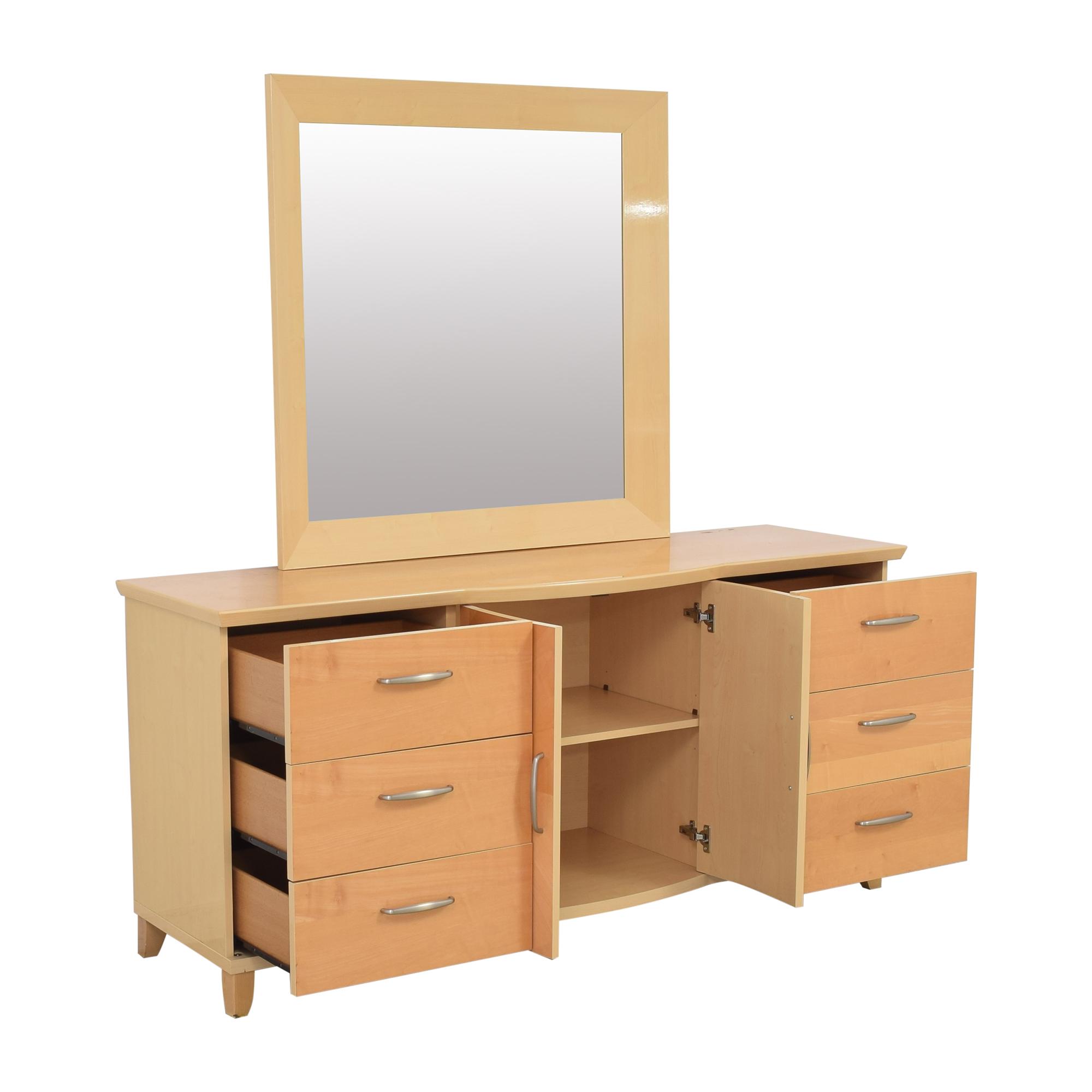 Planum Planum Modern Style Dresser and Mirror light brown