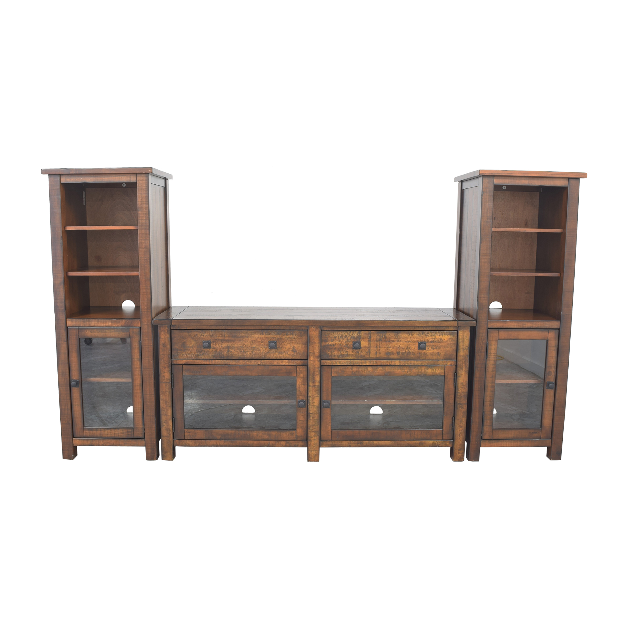 shop Pottery Barn Benchwright Entertainment Center with Towers Pottery Barn Storage