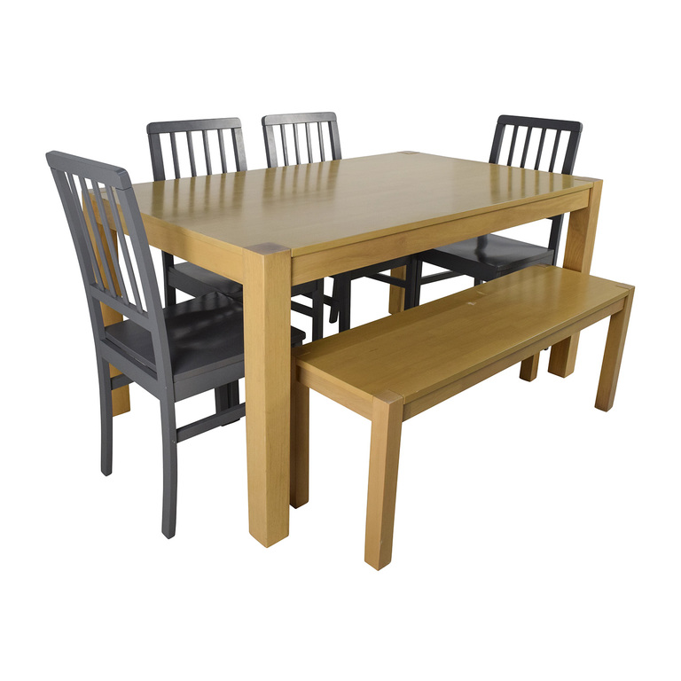 Wooden Dinner Set with Bench Seat dimensions