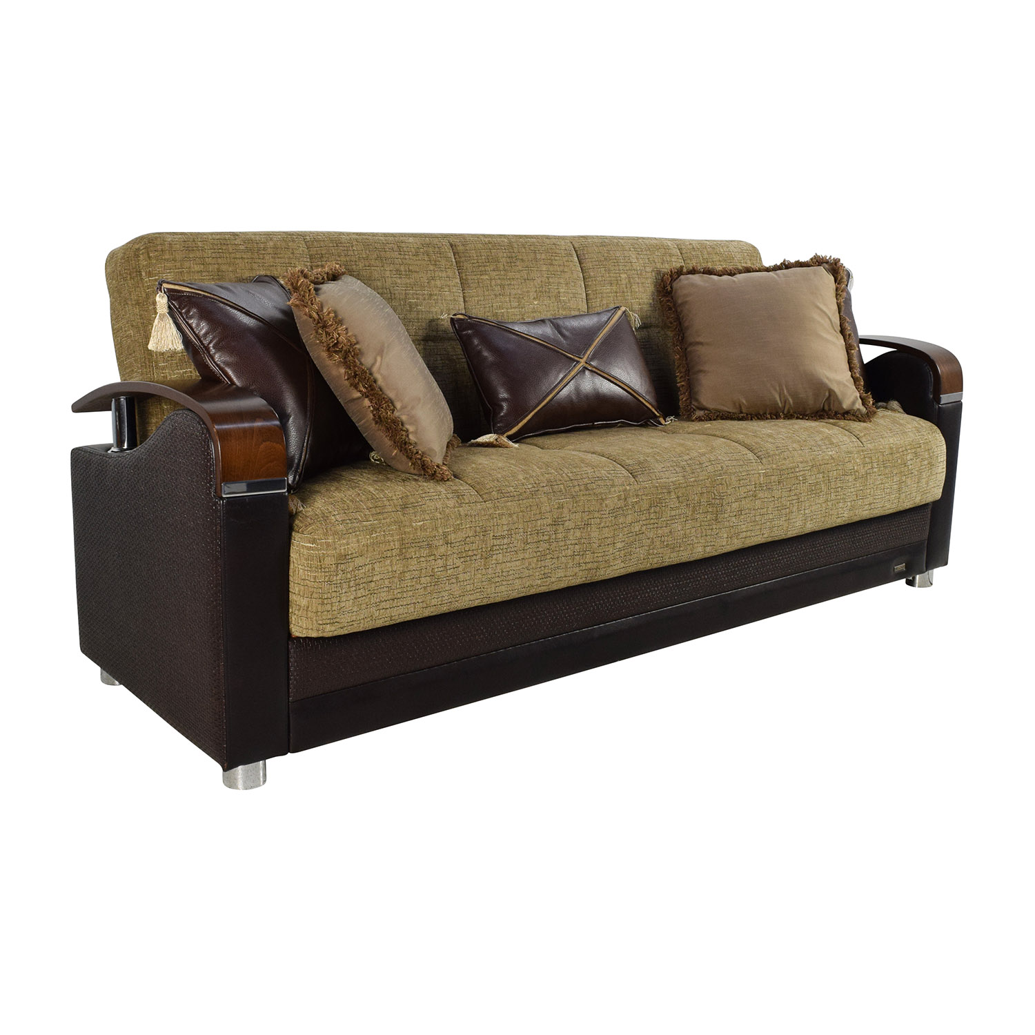 Bellona Bellona Luna Gold and Brown Sofa Sleeper with Pillows