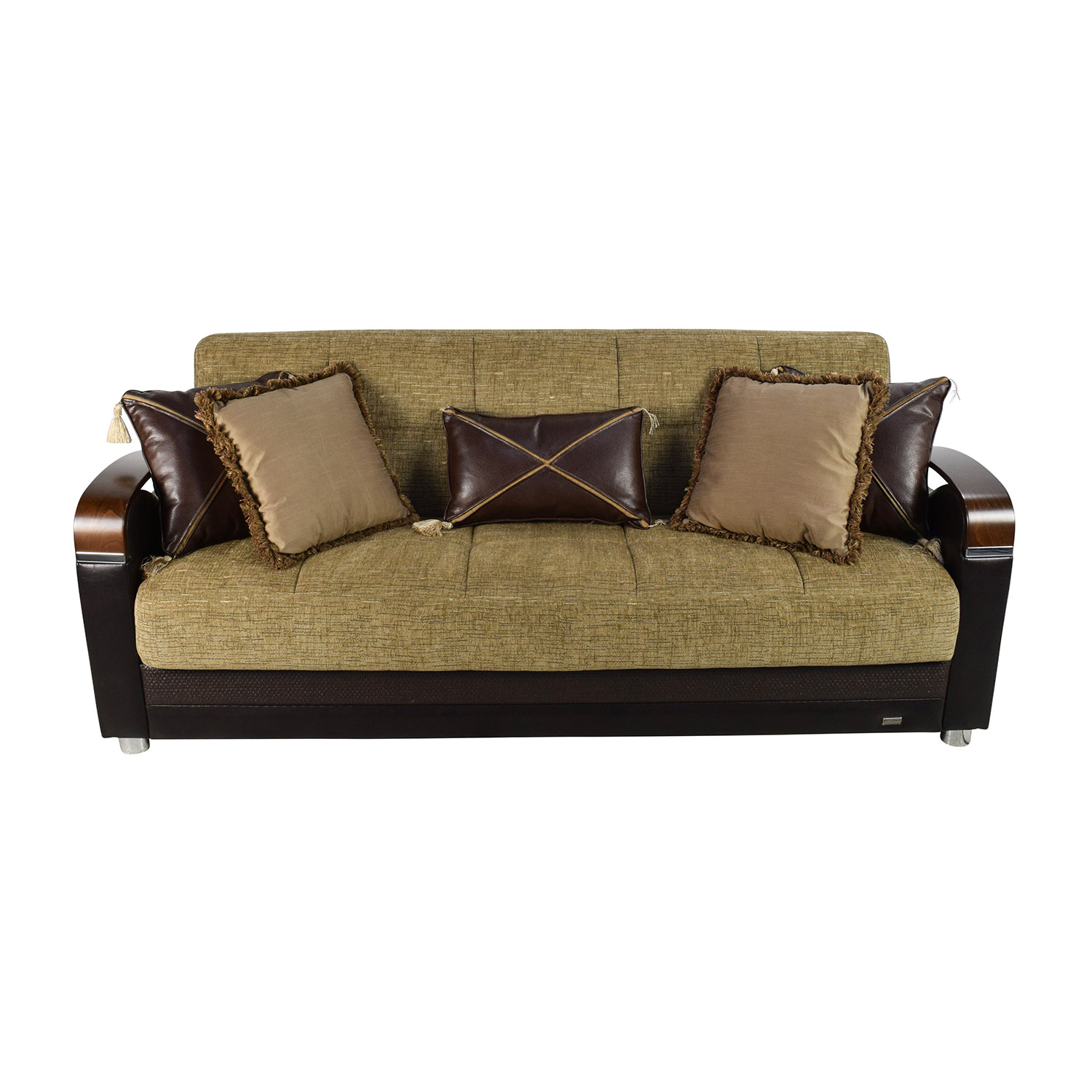Bellona Bellona Luna Gold and Brown Sofa Sleeper with Pillows Sofas