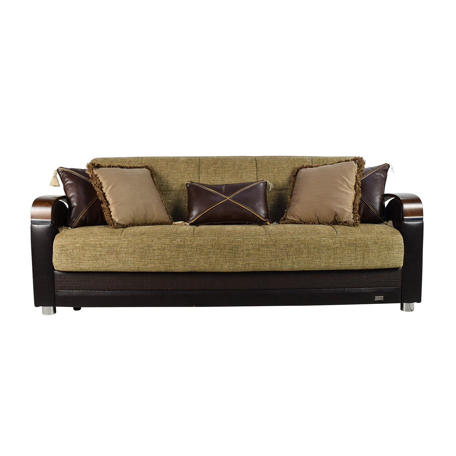 buy Bellona Luna Gold and Brown Sofa Sleeper with Pillows Bellona