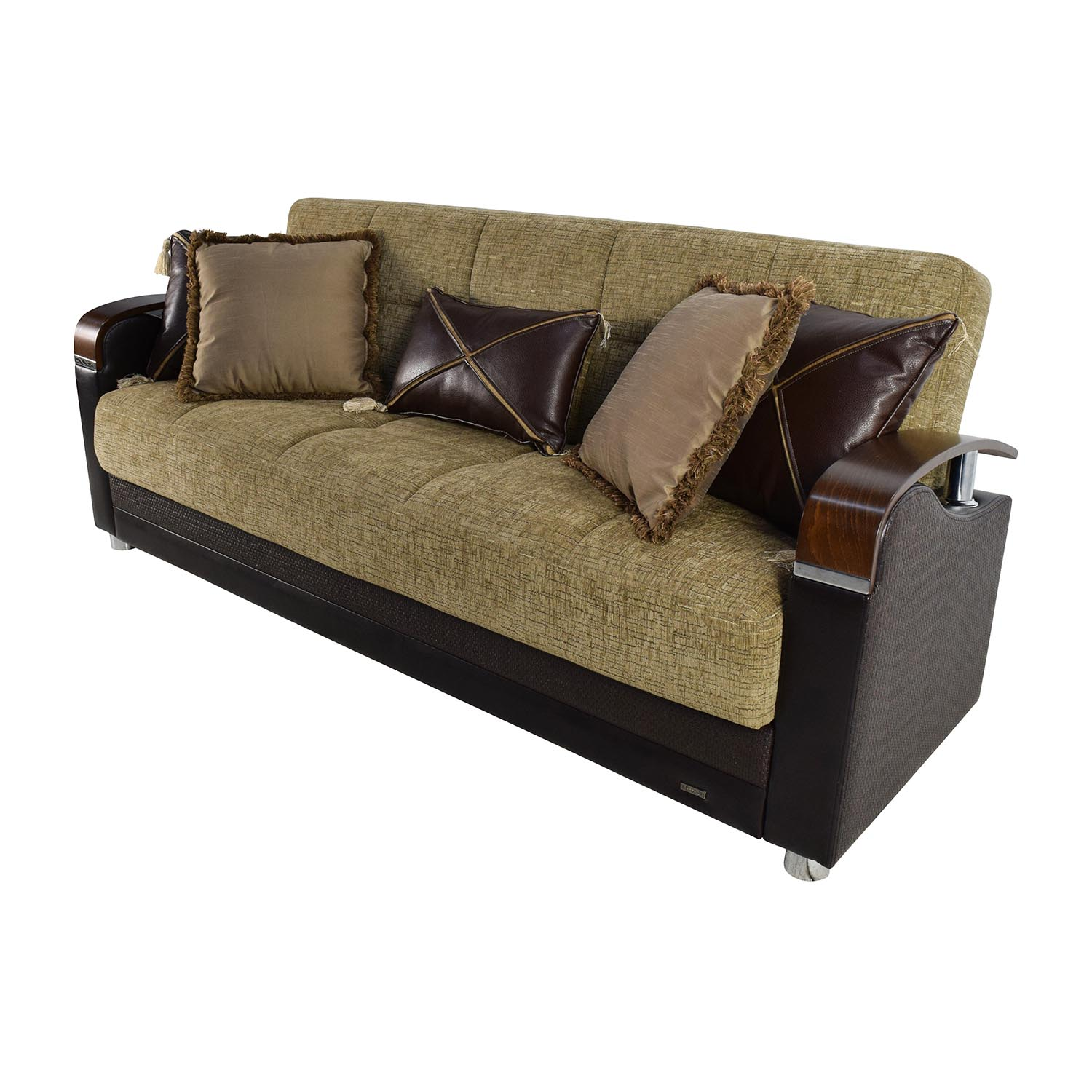 Bellona Bellona Luna Gold and Brown Sofa Sleeper with Pillows dimensions
