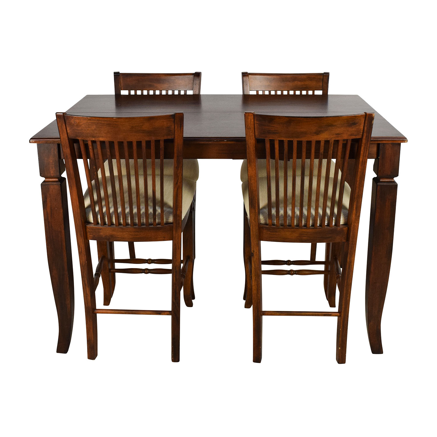 Tall Extendable Dining Room Table Set Brown