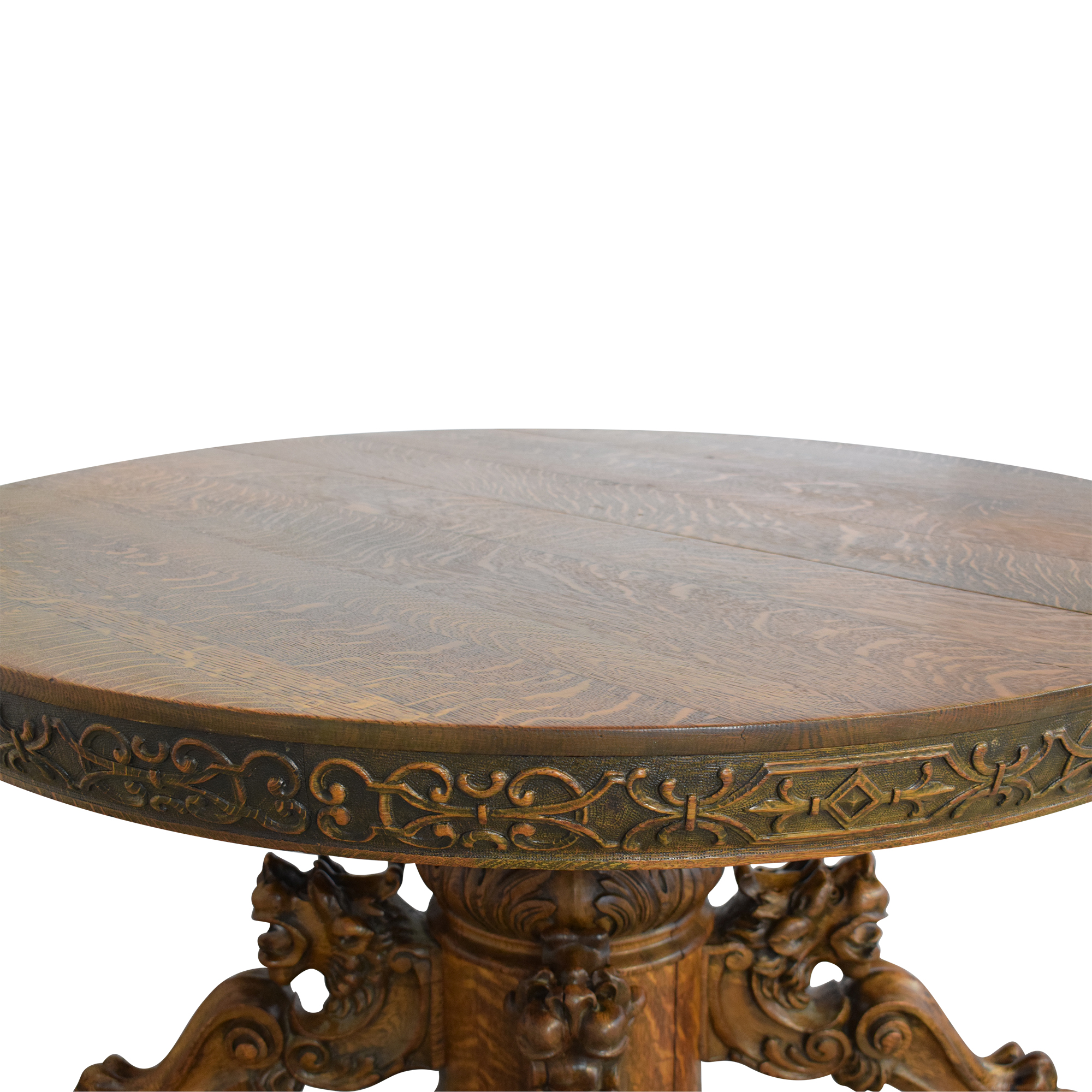 shop Carved Round Extendable Dining Table  Dinner Tables