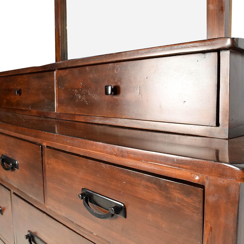 56 Off Wooden 11 Drawer Dresser With Vanity Mirror Storage