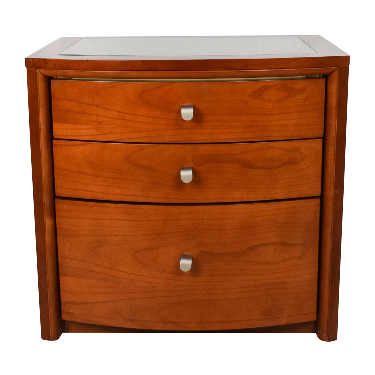 Unknown  Brown Glass Top Bedside Table dimensions