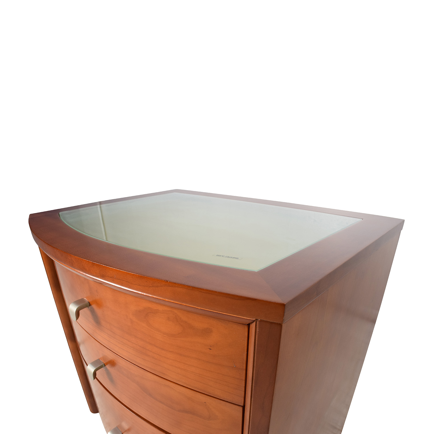 82% off - unknown brown glass top bedside table / tables