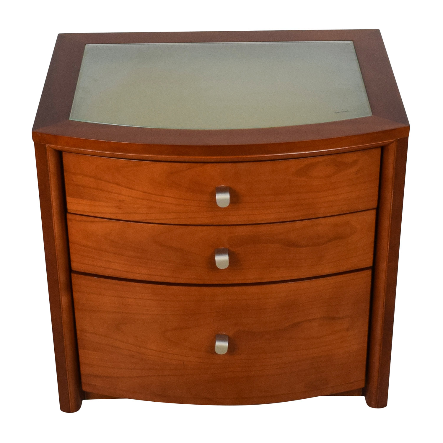 Unknown Brown Glass Top Bedside Table End Tables