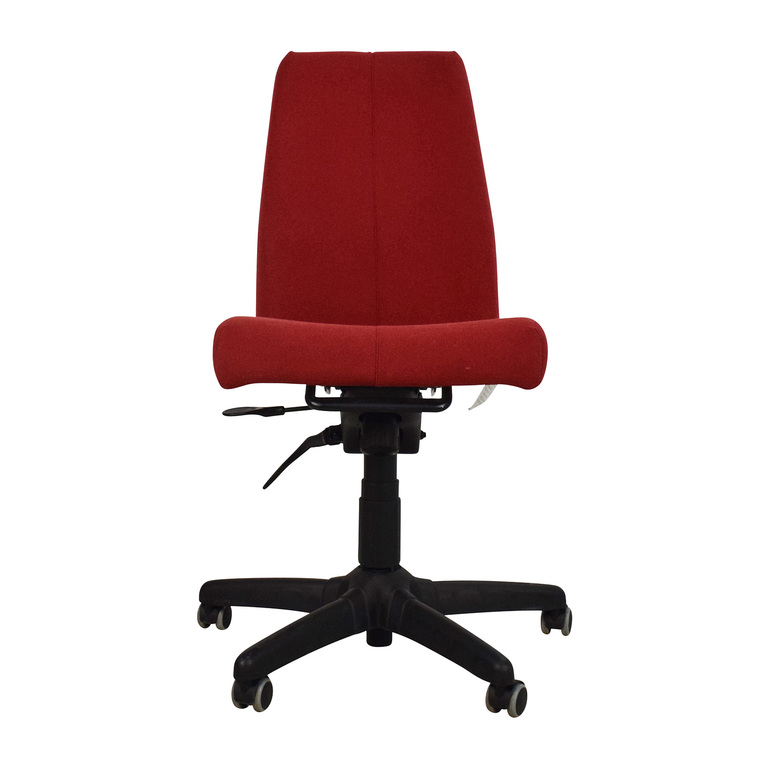 Red Armless Adjustable Home Office Chair