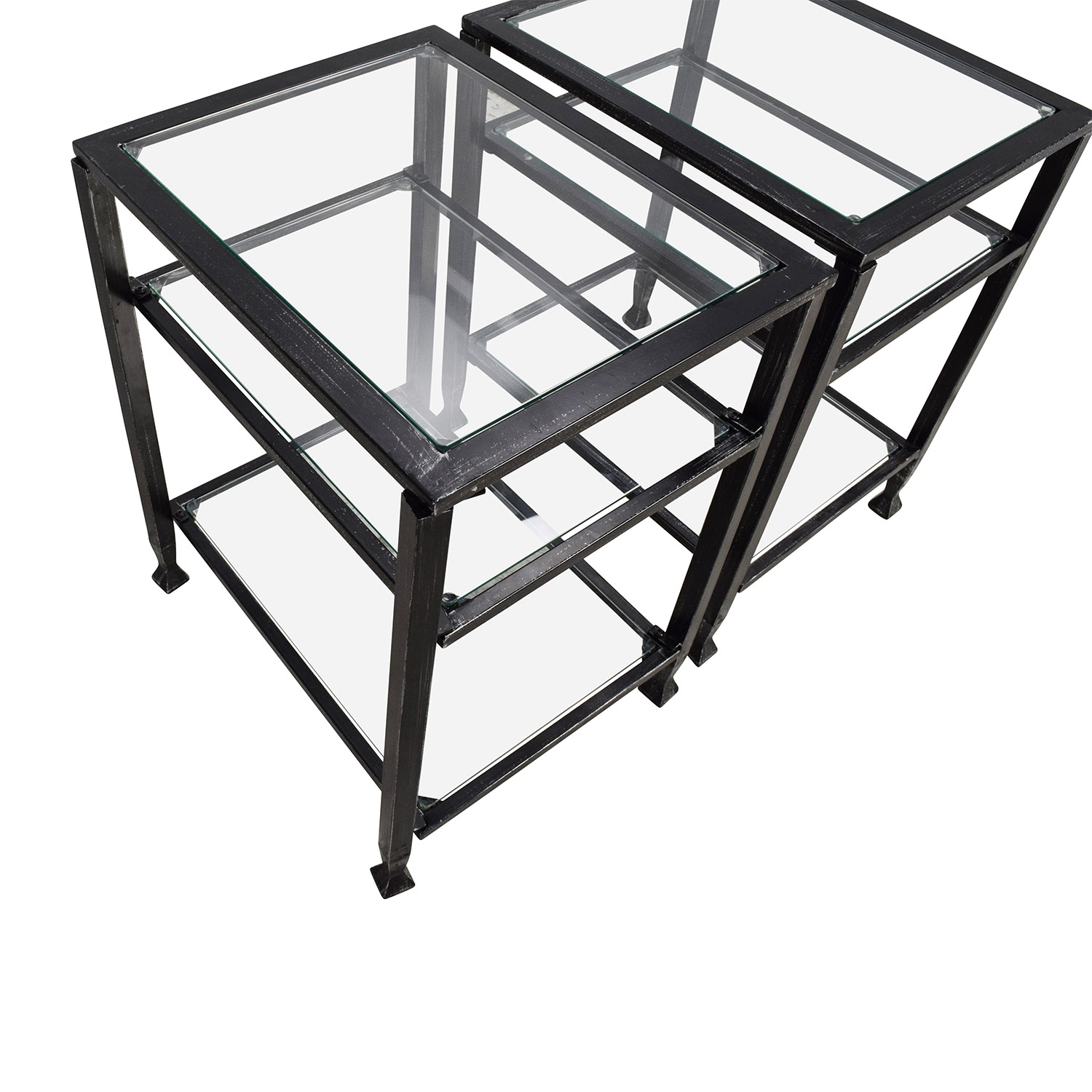 Harper Blvd Bunch Metal Glass End Table Pair / End Tables