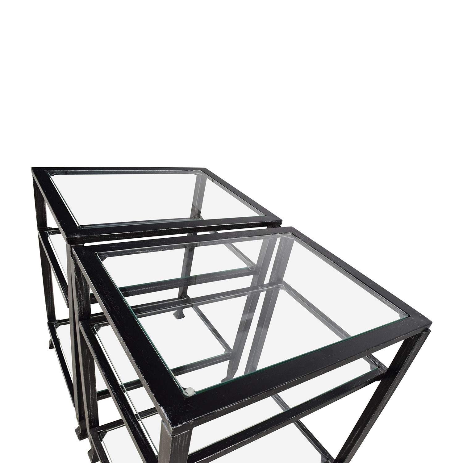 Harper Blvd Bunch Metal Glass End Table Pair / Tables