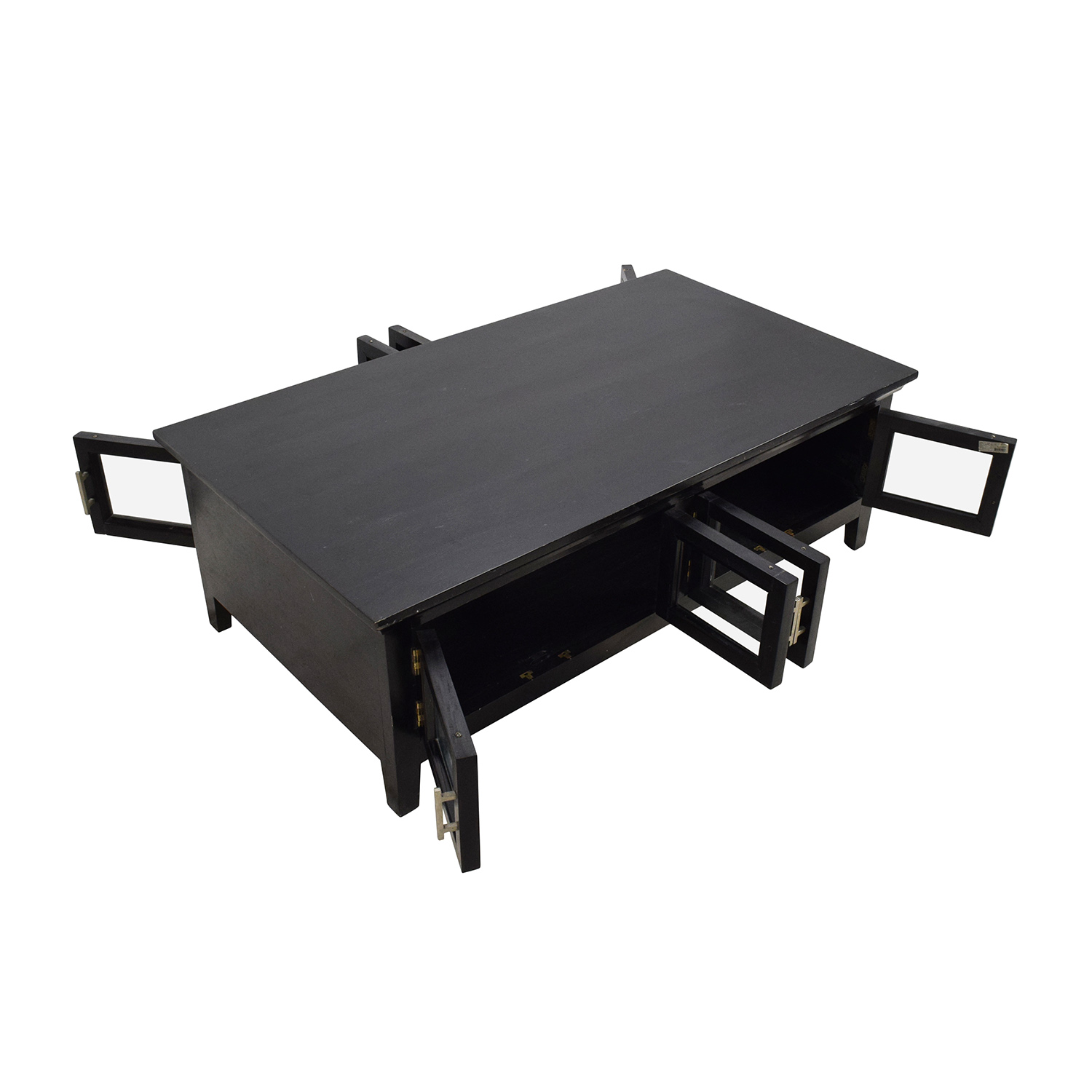 64 Off Black Wooden Storage Coffee Table Tables