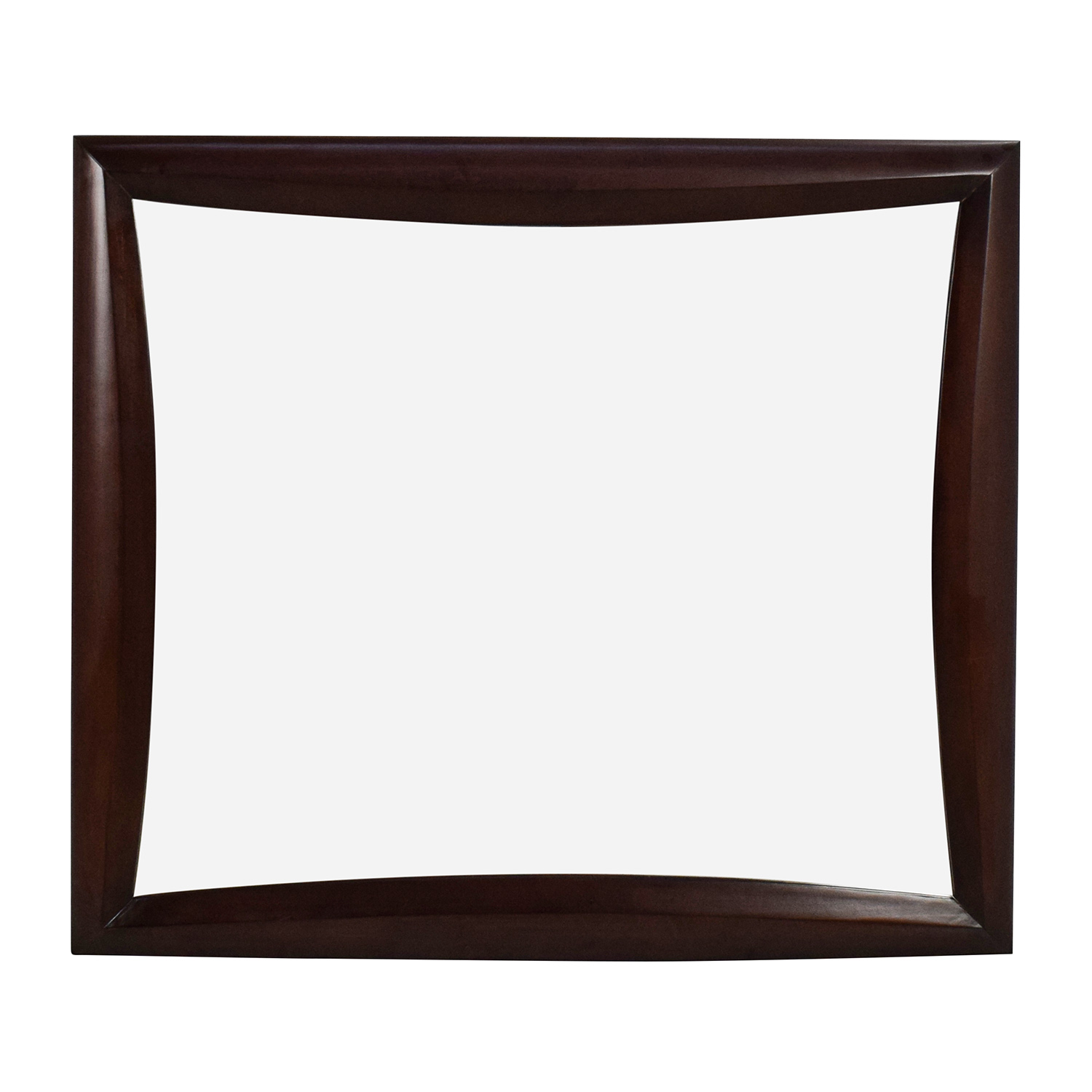 Square Curved Wooden Frame Mirror